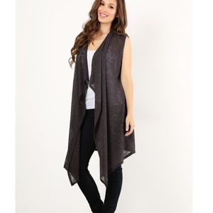 Jackets & Blazers - Plus Size Knit Sleeveless Vest in Charcoal